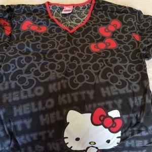 Scrub top size large hello kitty